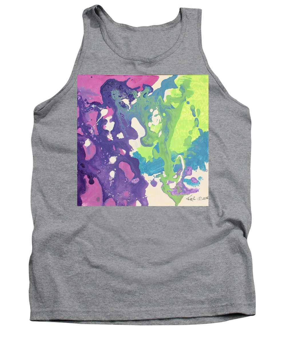 Abstract Tank Top featuring the painting Ocean Explosion by Kari Hunt