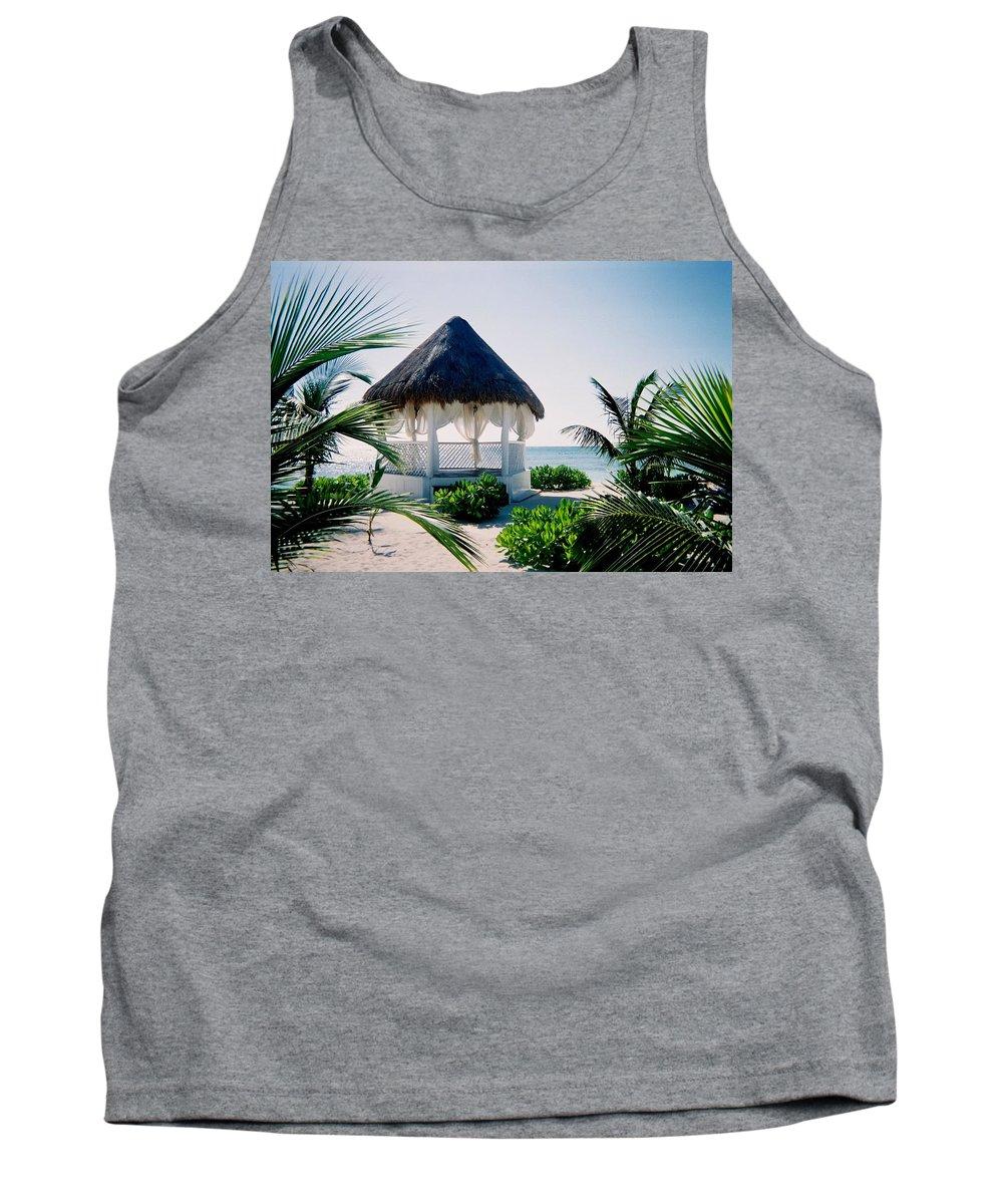 Resort Tank Top featuring the photograph Ocean Gazebo by Anita Burgermeister