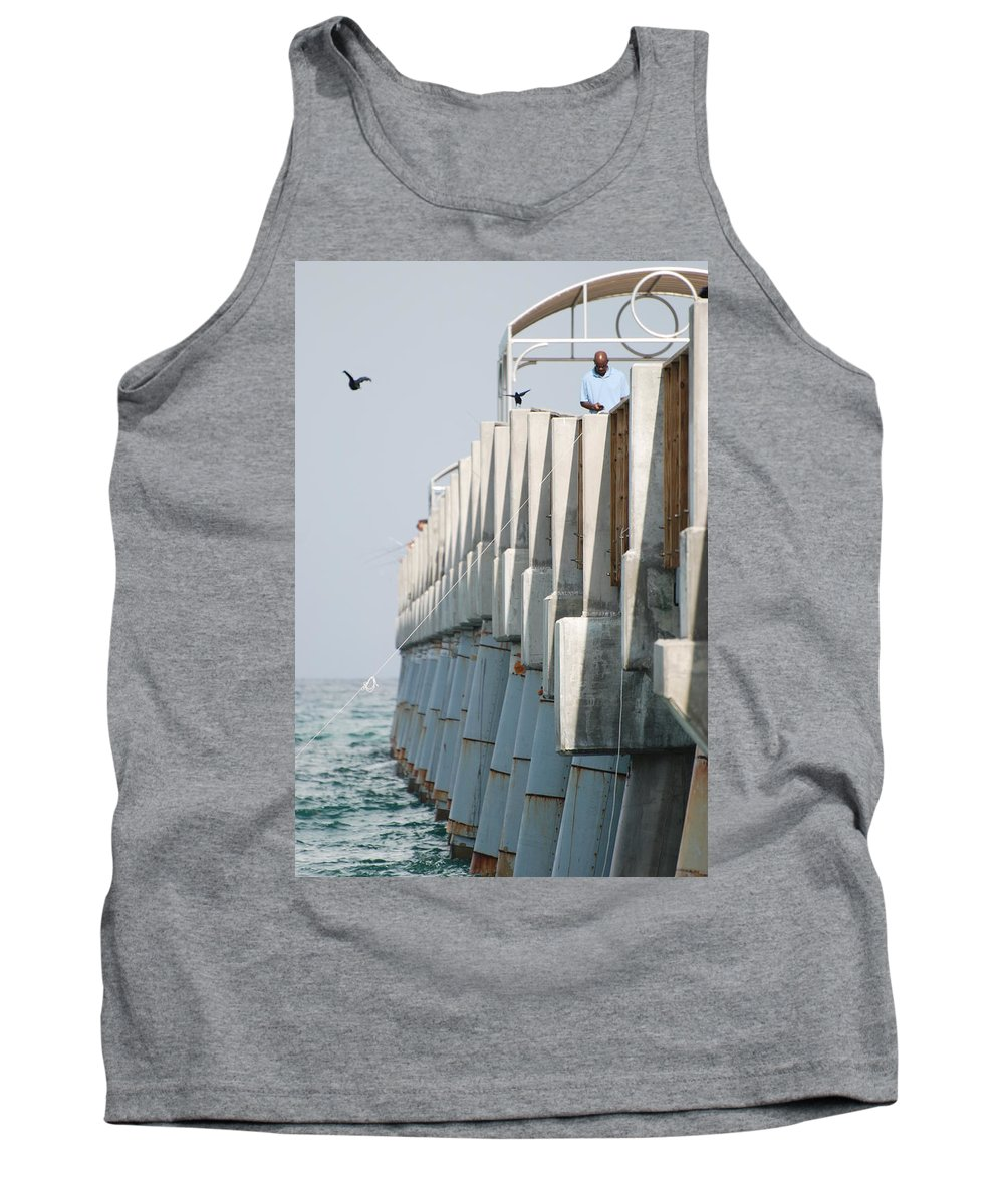 Fishing Tank Top featuring the photograph Ocean Pier by Rob Hans