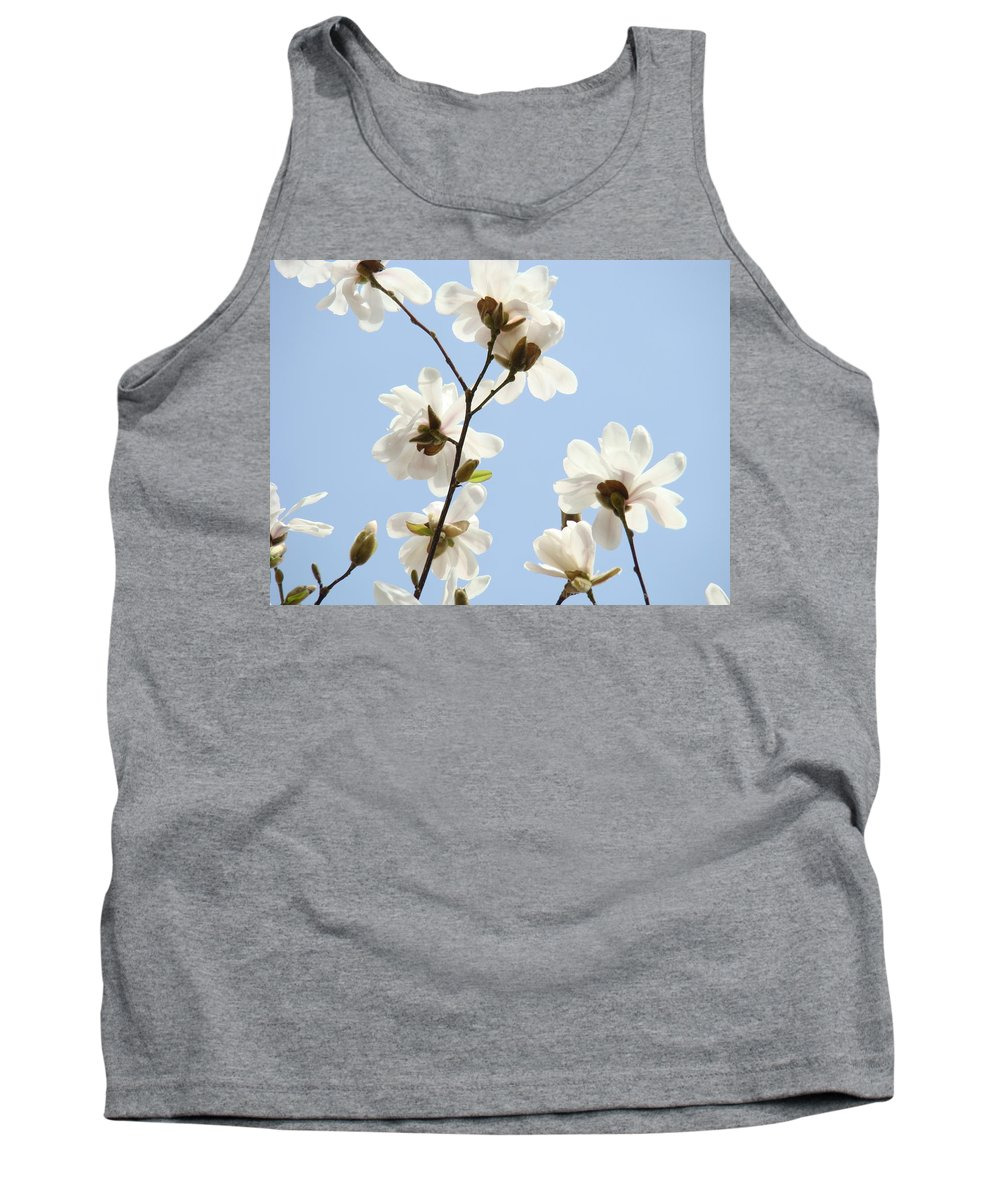 Blue Tank Top featuring the photograph Office Art Prints Blue Sky White Magnolia Flowers 38 Giclee Prints Baslee Troutman by Baslee Troutman