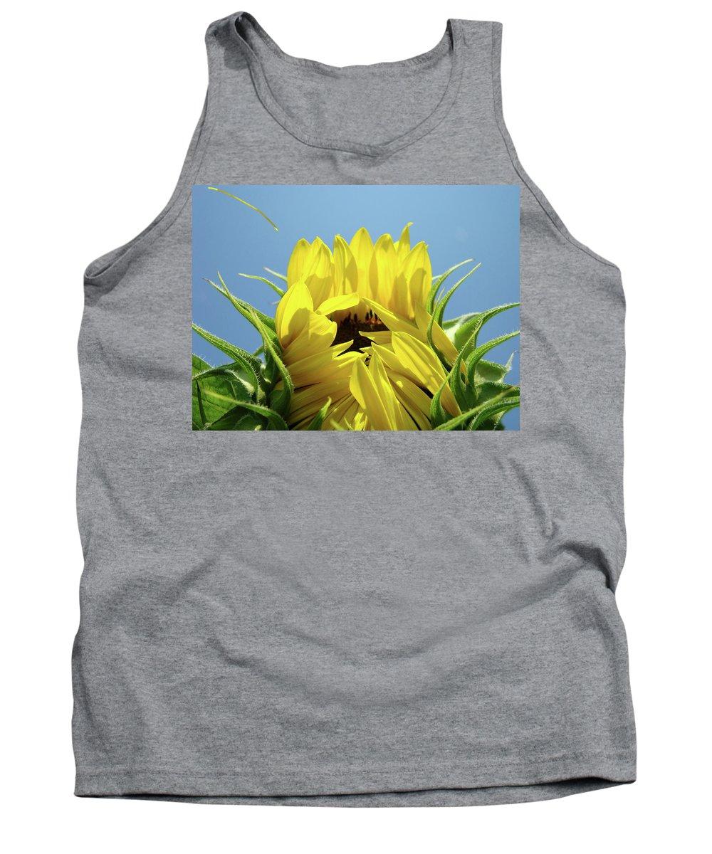 Sunflower Tank Top featuring the photograph Office Art Sunflower Opening Summer Sun Flower Baslee Troutman by Baslee Troutman