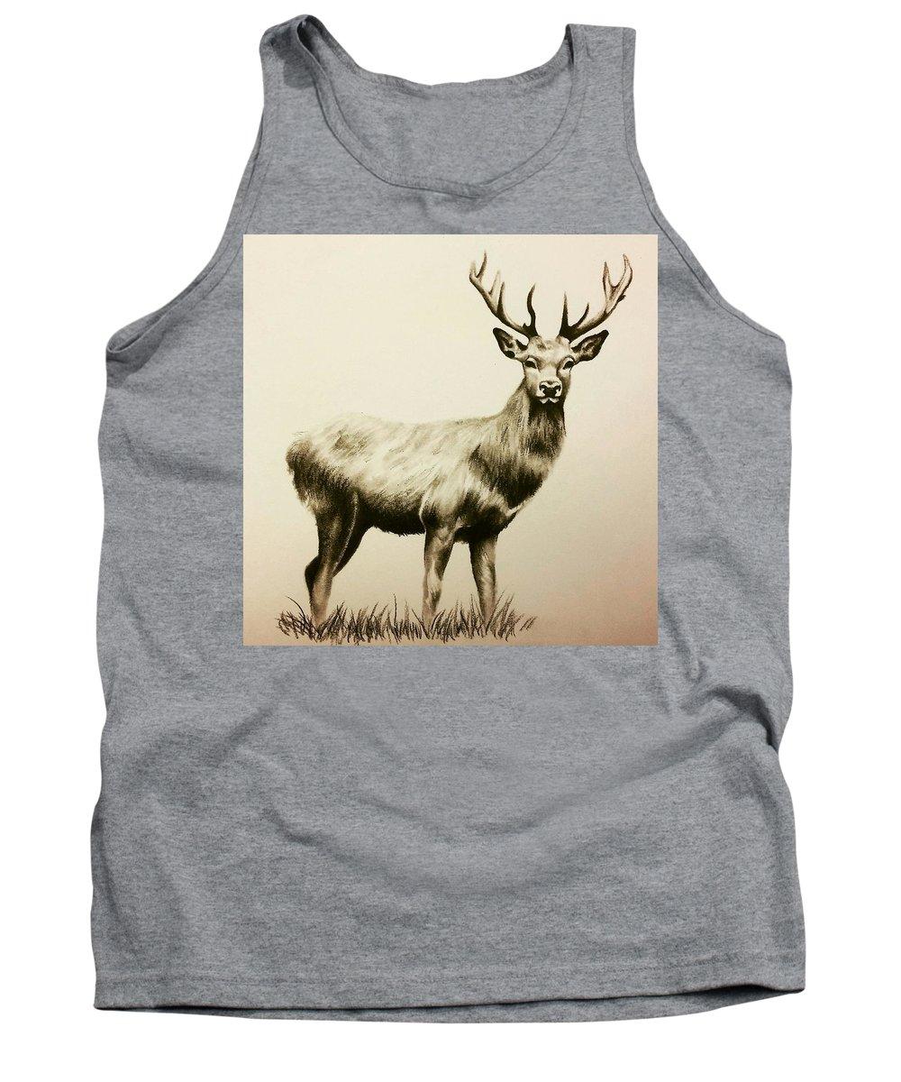 Deer Tank Top featuring the drawing Oh Deer by Lauren James