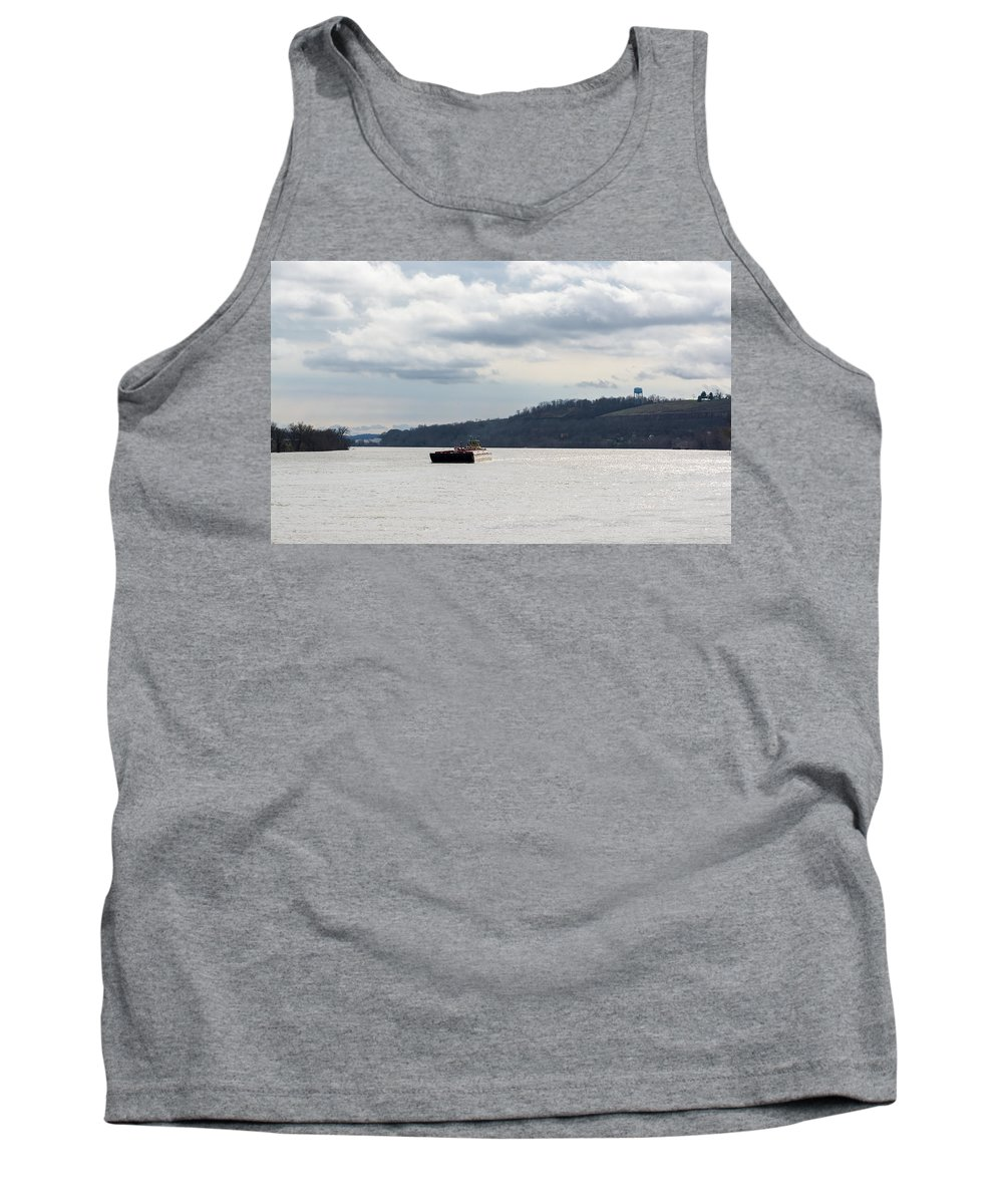 Barge Tank Top featuring the photograph Ohio River Barge by Jan M Holden