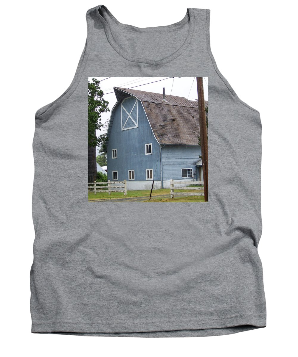 Old Tank Top featuring the photograph Old Blue Barn Littlerock Washington by Laurie Kidd