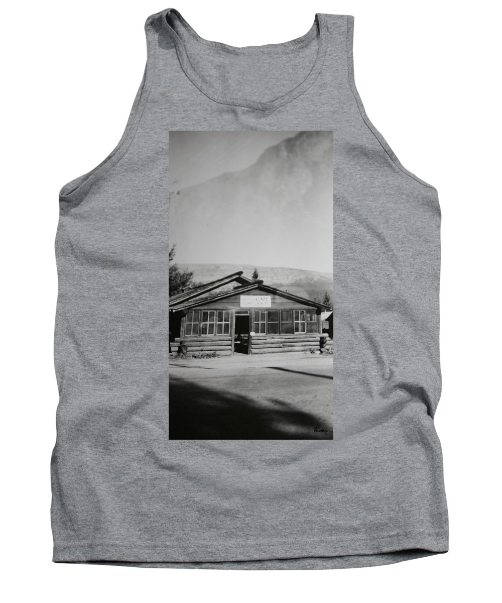 Black And White Photograph Classic Old Cafe Banff Alberta 1950s Diner Log Cabin Tank Top featuring the photograph Old Cafe by Andrea Lawrence