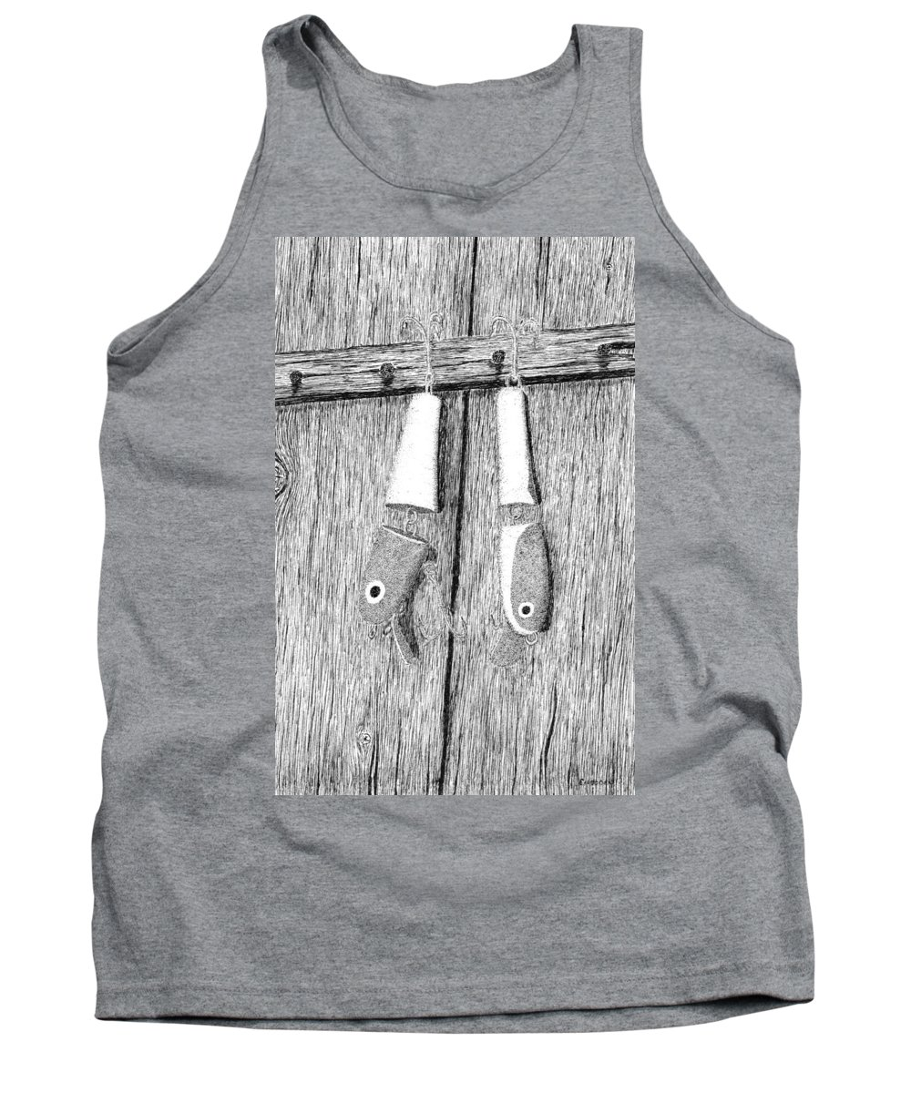 Fishing Lures Tank Top featuring the drawing Old Fishing Lures by Ed Einboden