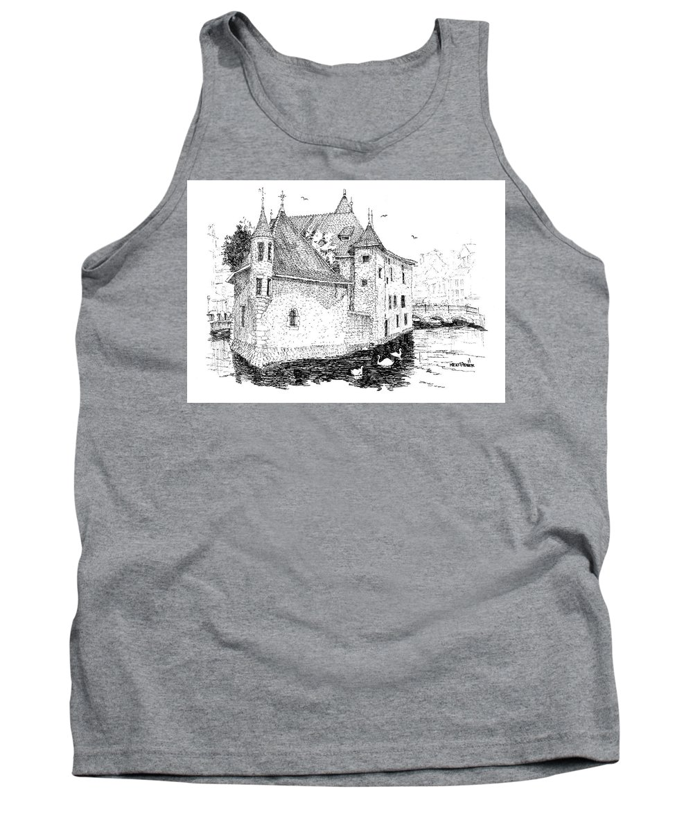Architecture Tank Top featuring the drawing Old Prison Of Annecy France by Ken Pieper