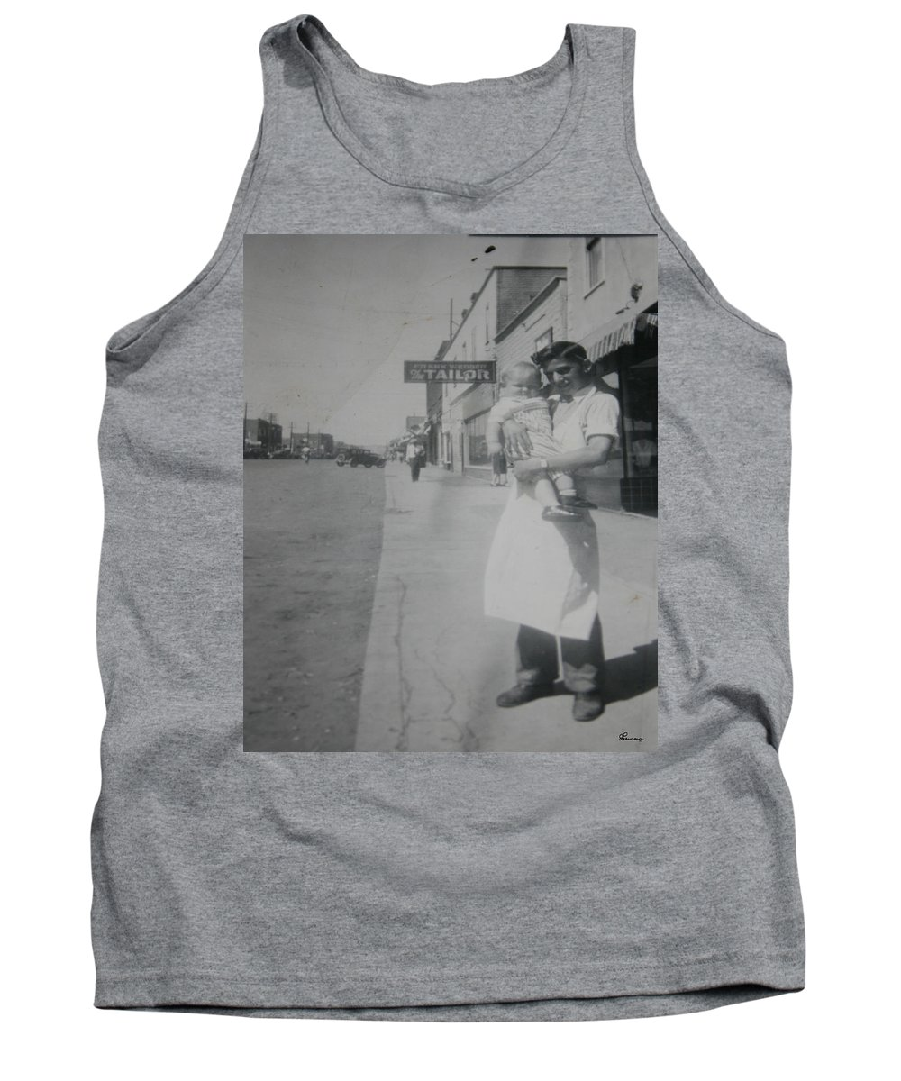 Old Street 1950 Road Store Black And White Photographs Long Ago Classic Tank Top featuring the photograph Old Street by Andrea Lawrence