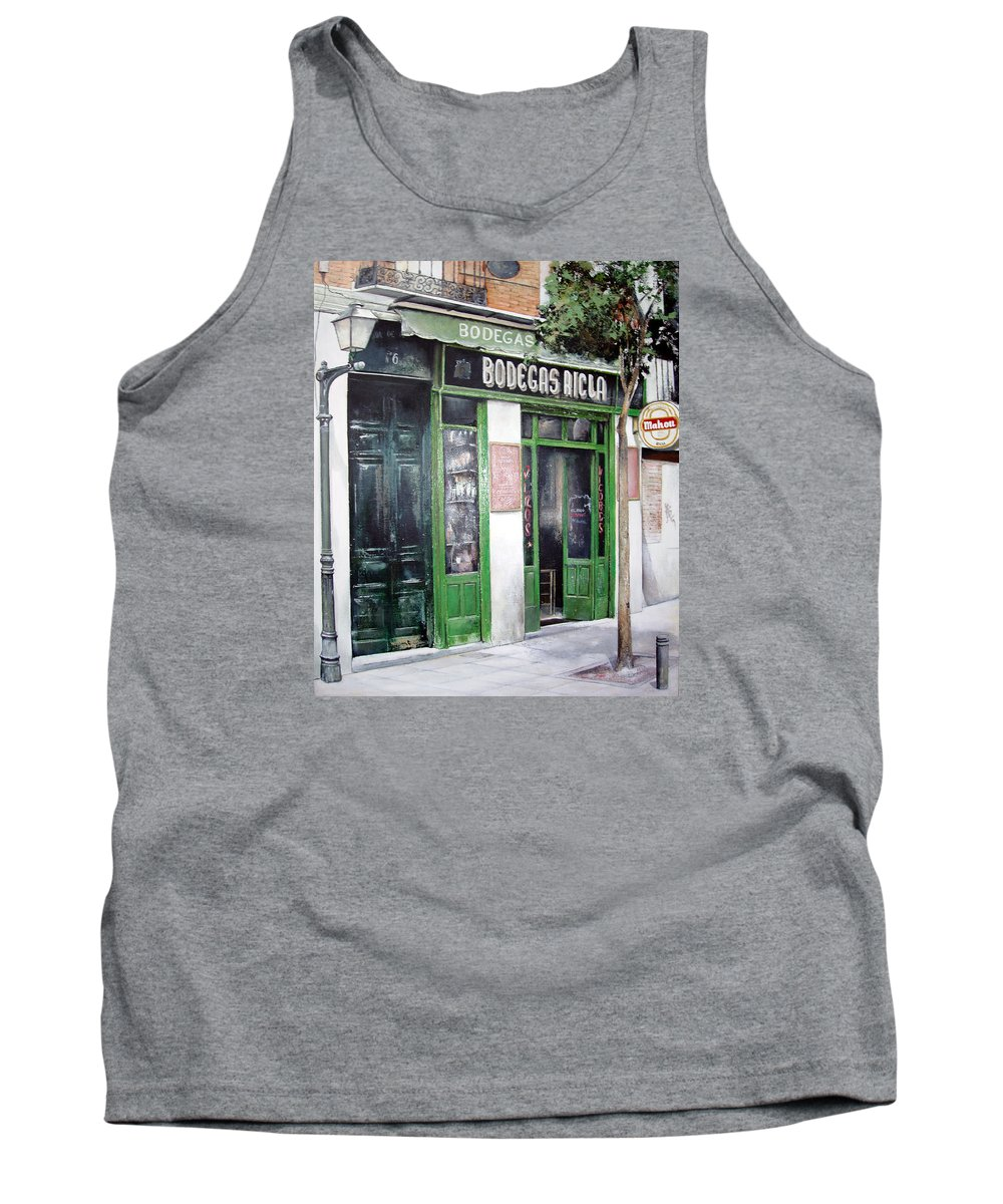 Bodegas Tank Top featuring the painting Old Tavern-madrid by Tomas Castano