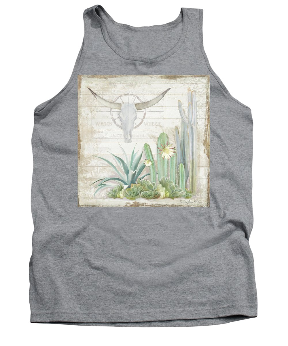 Longhorn Cow Skull Tank Top featuring the painting Old West Cactus Garden W Longhorn Cow Skull N Succulents Over Wood by Audrey Jeanne Roberts