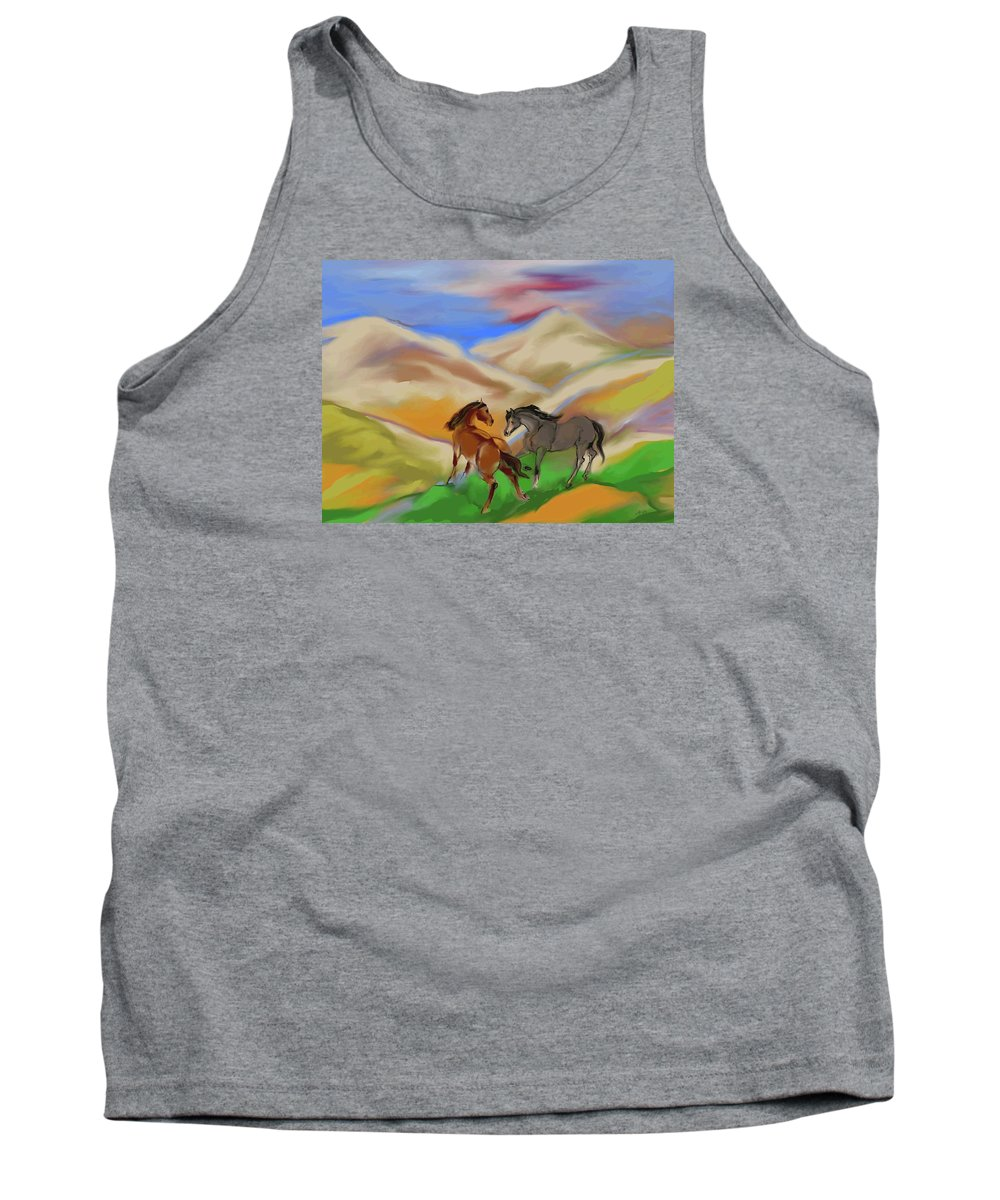 Horses Tank Top featuring the mixed media On The Mountian by Mary Armstrong