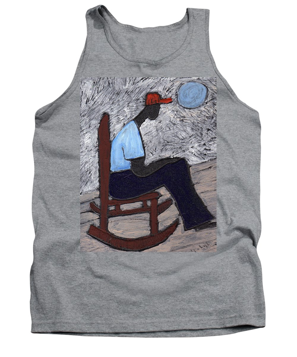 Rocking Chair Tank Top featuring the painting Once In A Blue Moon by Wayne Potrafka