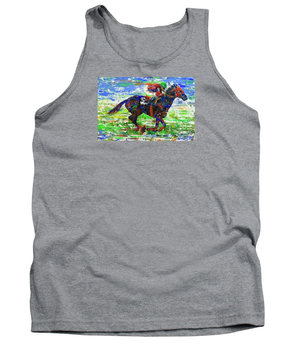 Horse Racing Tank Top featuring the painting One Body Length Ahead by Walter Fahmy