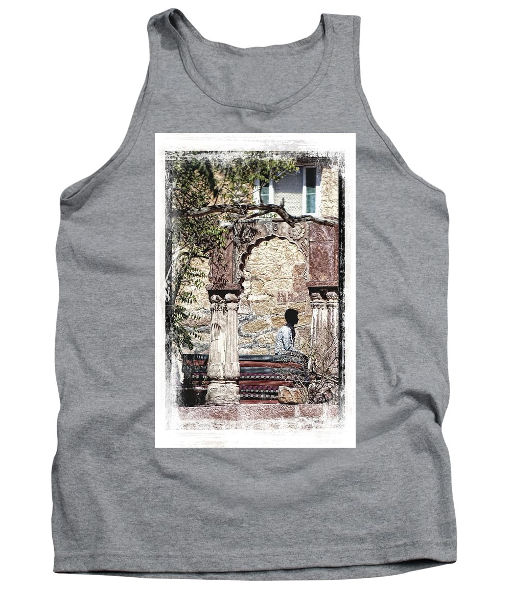 Travel Photography Tank Top featuring the photograph Open Air Bed Among The Arches India Rajasthan 1c by Sue Jacobi