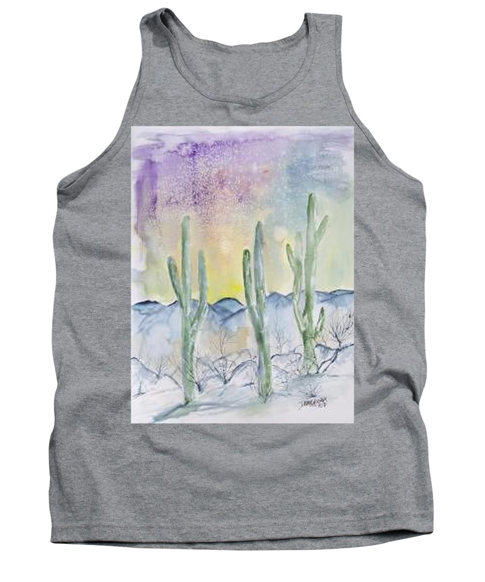 Impressionistic Tank Top featuring the painting Organ Pipe Cactus Desert Southwestern Painting Poster Print by Derek Mccrea