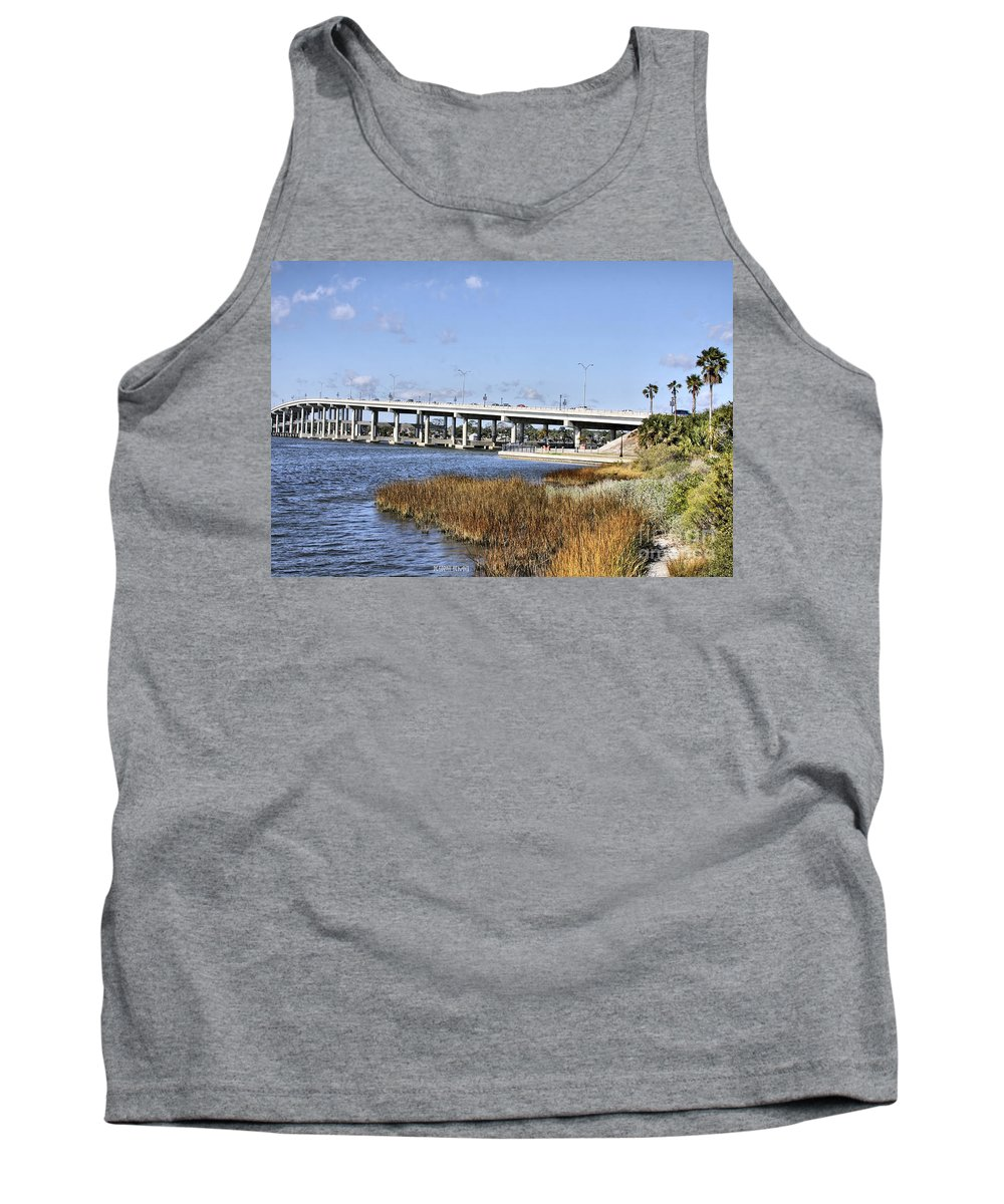 Ormond Beach Tank Top featuring the photograph Ormond Beach Bridge by Deborah Benoit