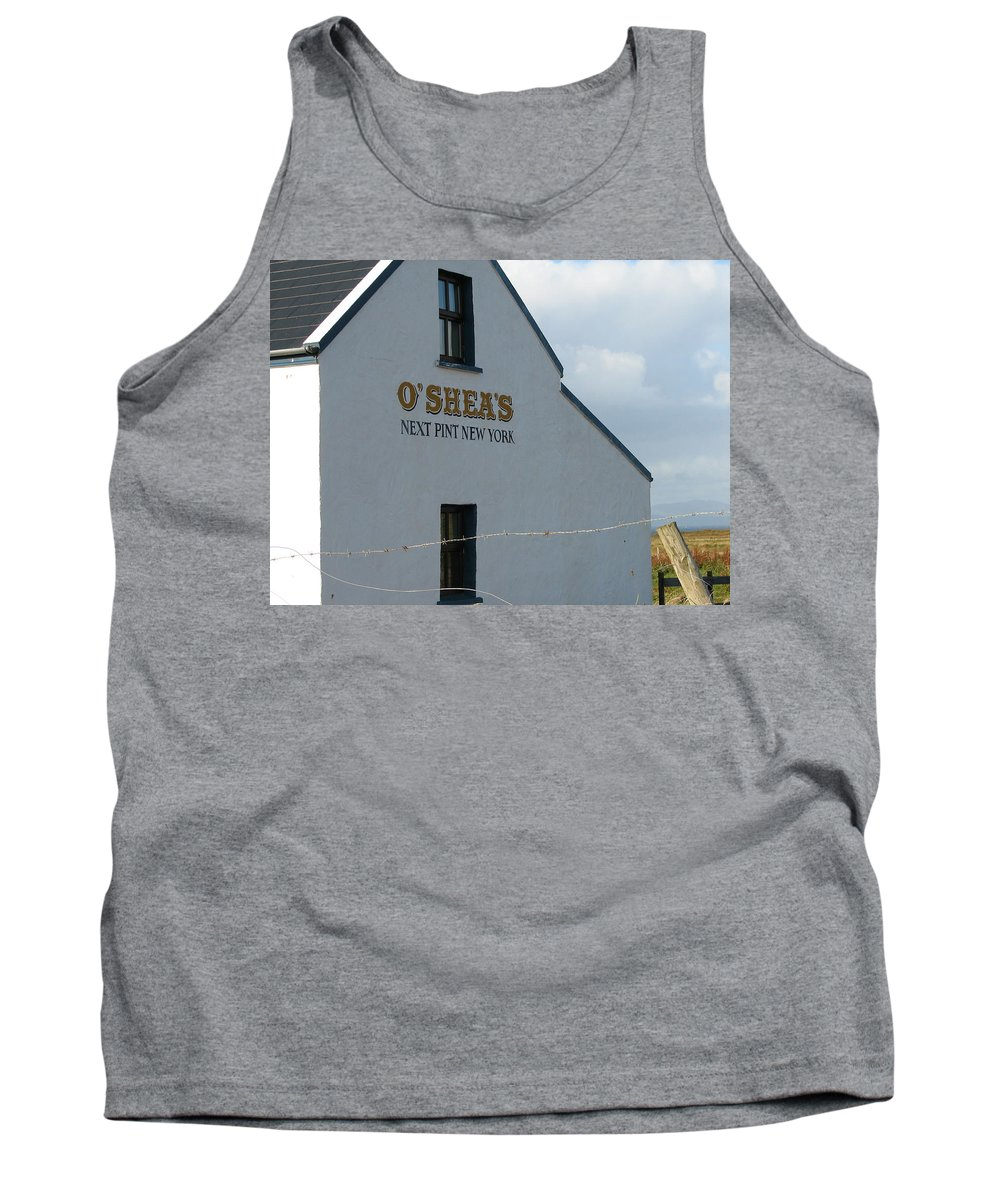 Pub Tank Top featuring the photograph O'shea's by Kelly Mezzapelle