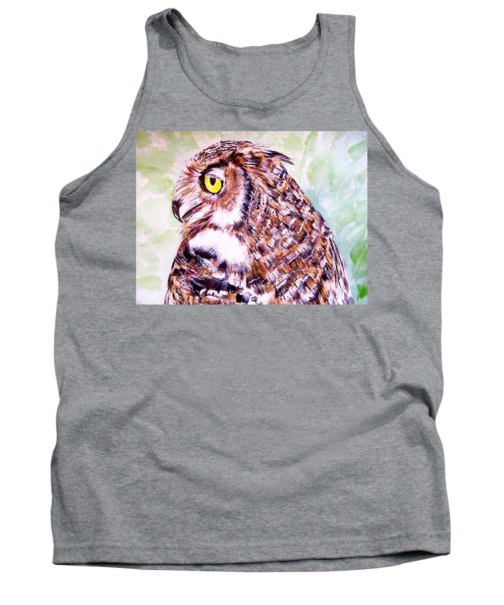 Owl Painting Tank Top featuring the painting Owl by Carol Blackhurst