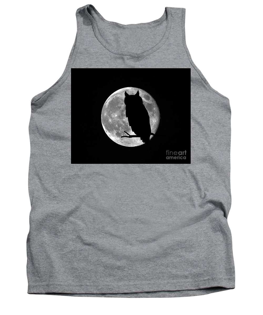 Owl Silhouette Tank Top featuring the photograph Owl Moon by Al Powell Photography USA