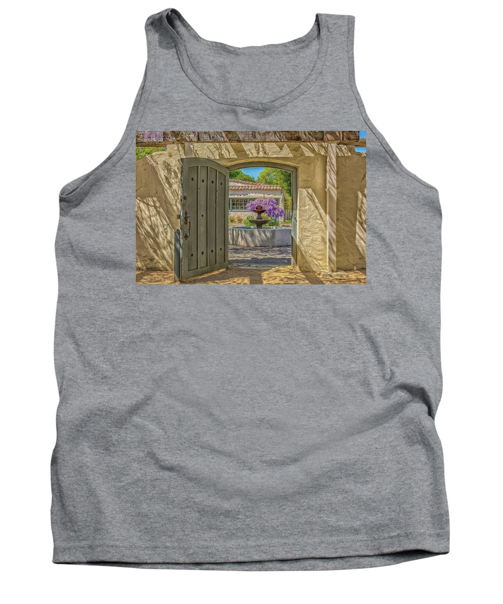 Landscape Tank Top featuring the pyrography Pacific House Garden Watercolors by Javier Flores