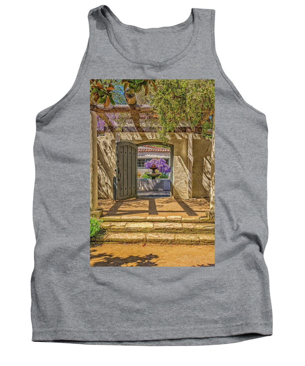 Landscape Tank Top featuring the pyrography Pacific House Garden Watercorlors by Javier Flores
