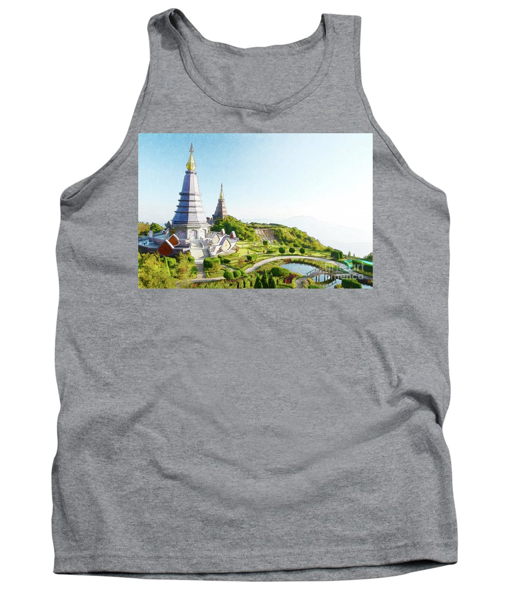 Building Tank Top featuring the photograph Pagoda On Doi Inthanon, Chiang Mai, Thailand. by Chatchai Somwat