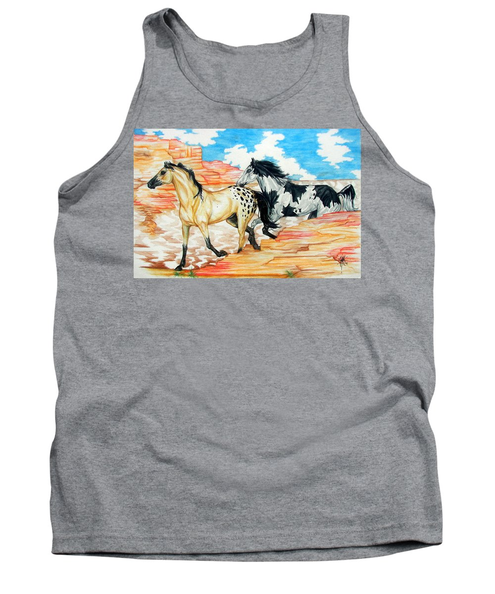 Horse Tank Top featuring the painting Painted Desert by Monica Turner