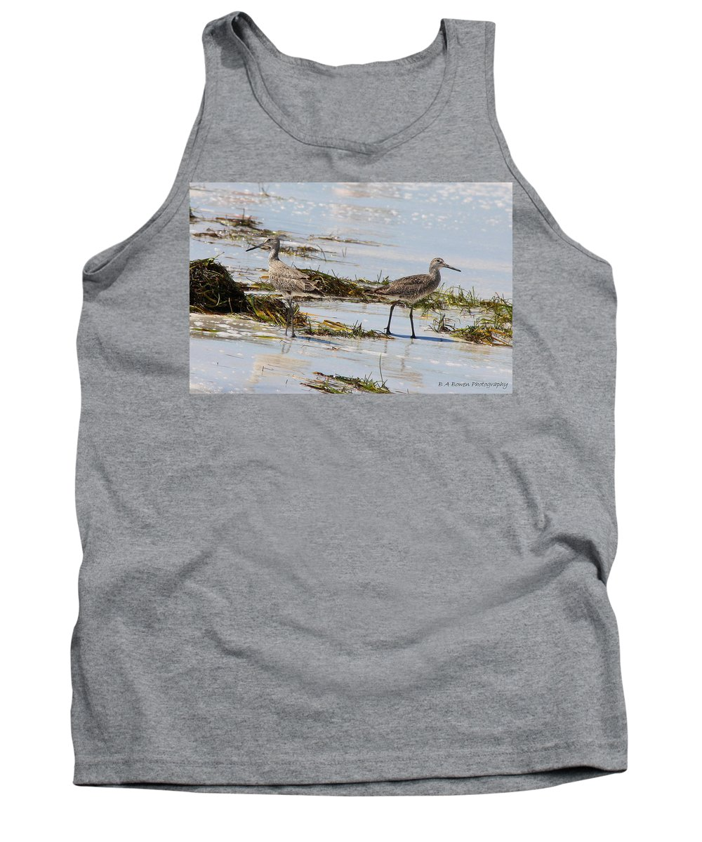 Willets Tank Top featuring the photograph Pair of Willets by Barbara Bowen