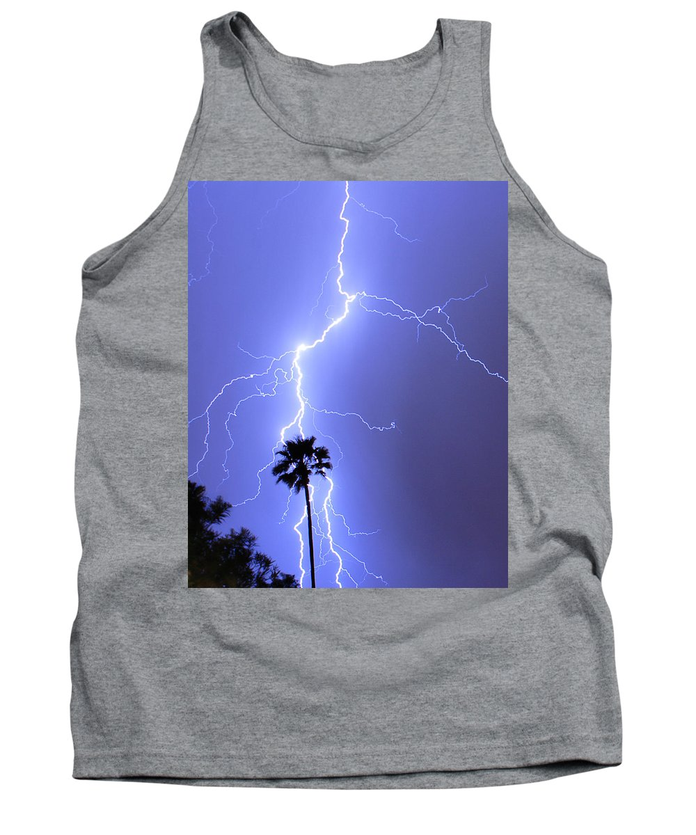 Lightning Tank Top featuring the photograph Palm Tree On Strike by James BO Insogna
