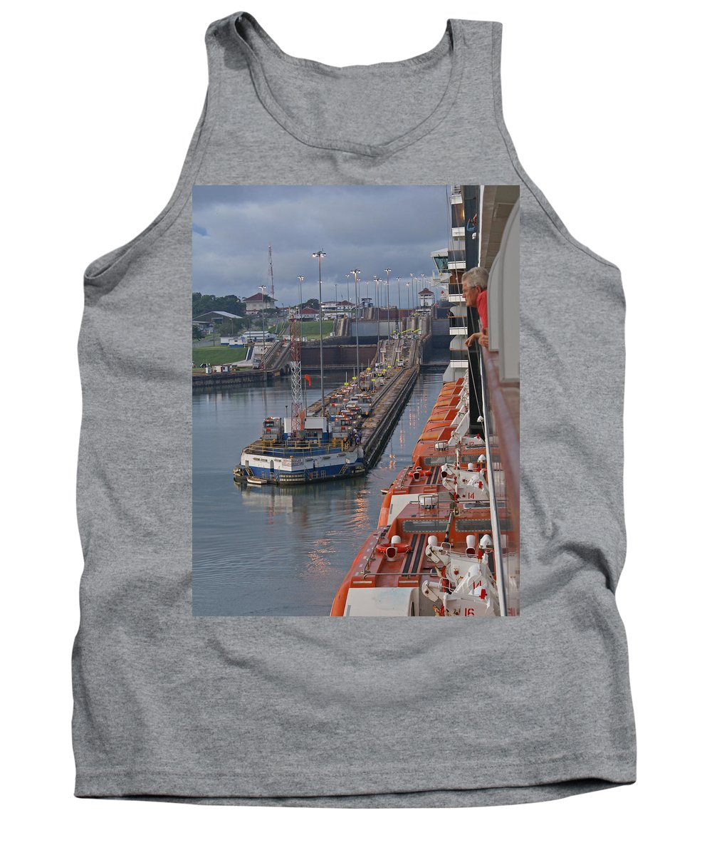 Panama Tank Top featuring the digital art Panama Canal by Heather Coen
