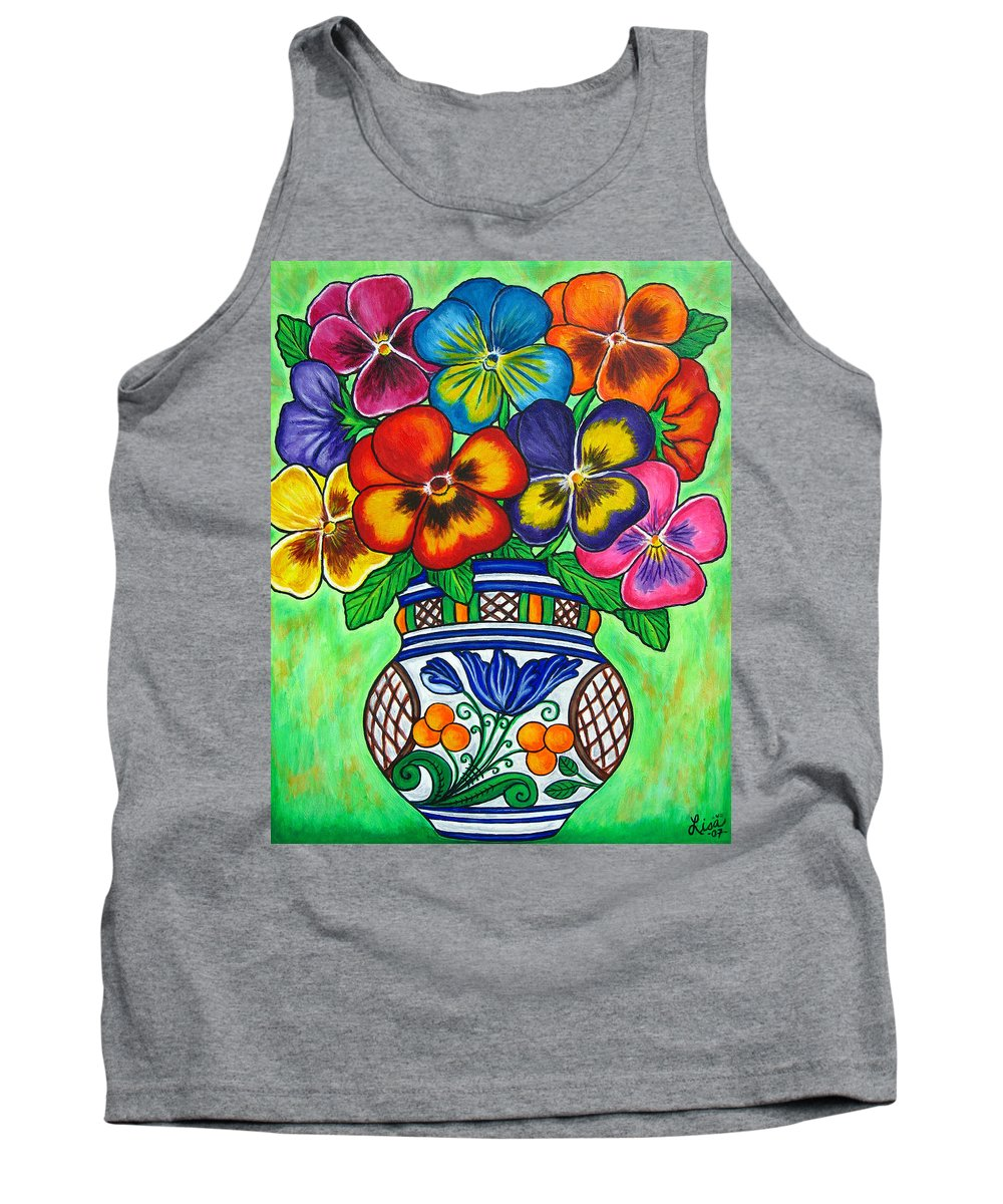 Flower Tank Top featuring the painting Pansy Parade by Lisa Lorenz