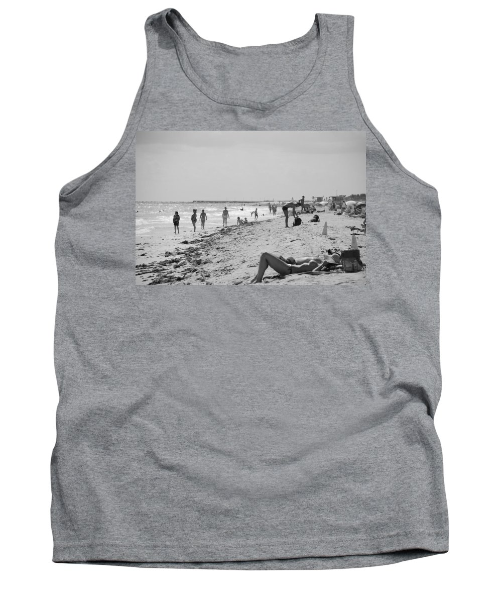 Black And White Tank Top featuring the photograph Paradise Beach In Black And White by Rob Hans