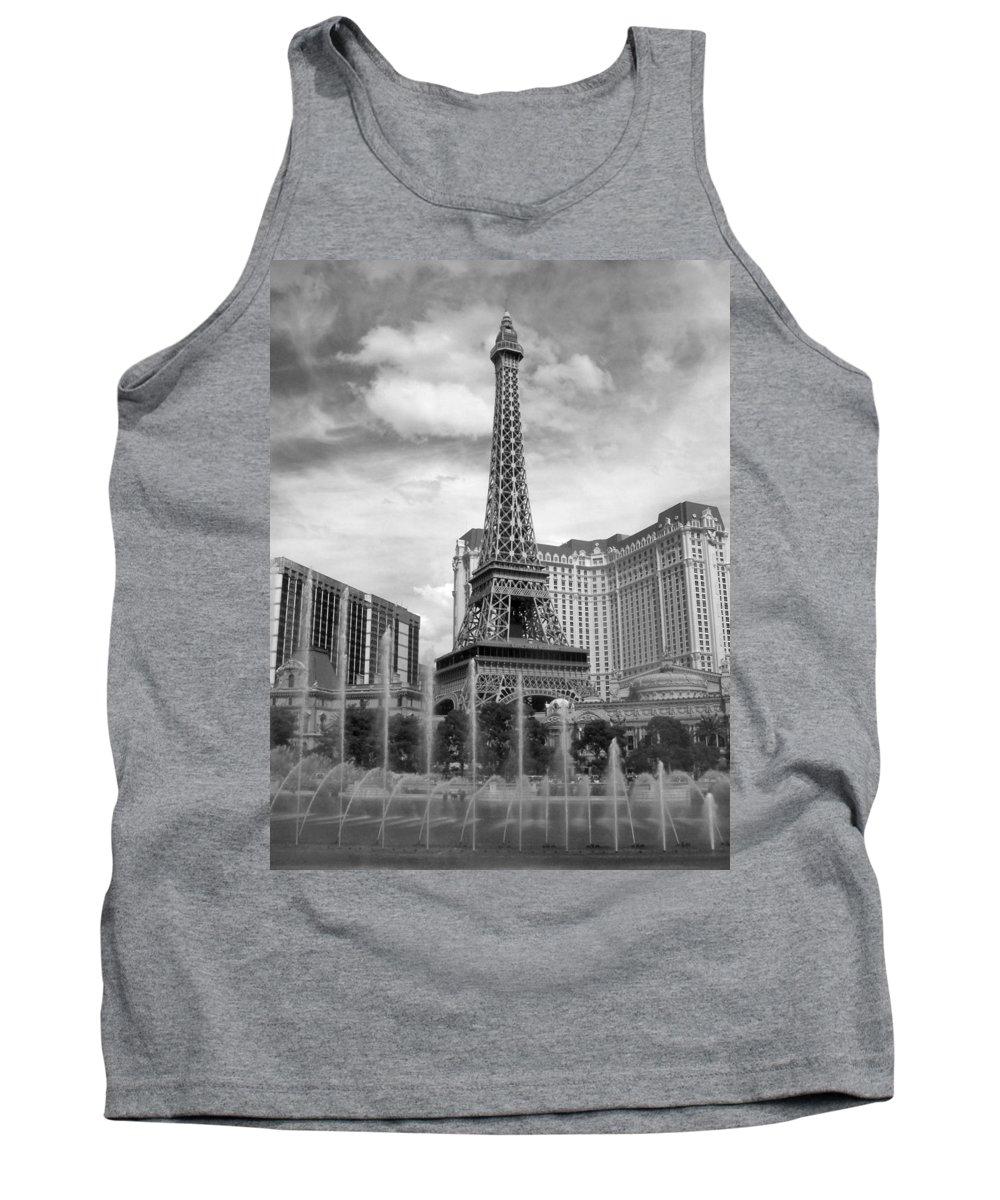 Paris Hotel Tank Top featuring the photograph Paris Hotel - Las Vegas B-w by Anita Burgermeister