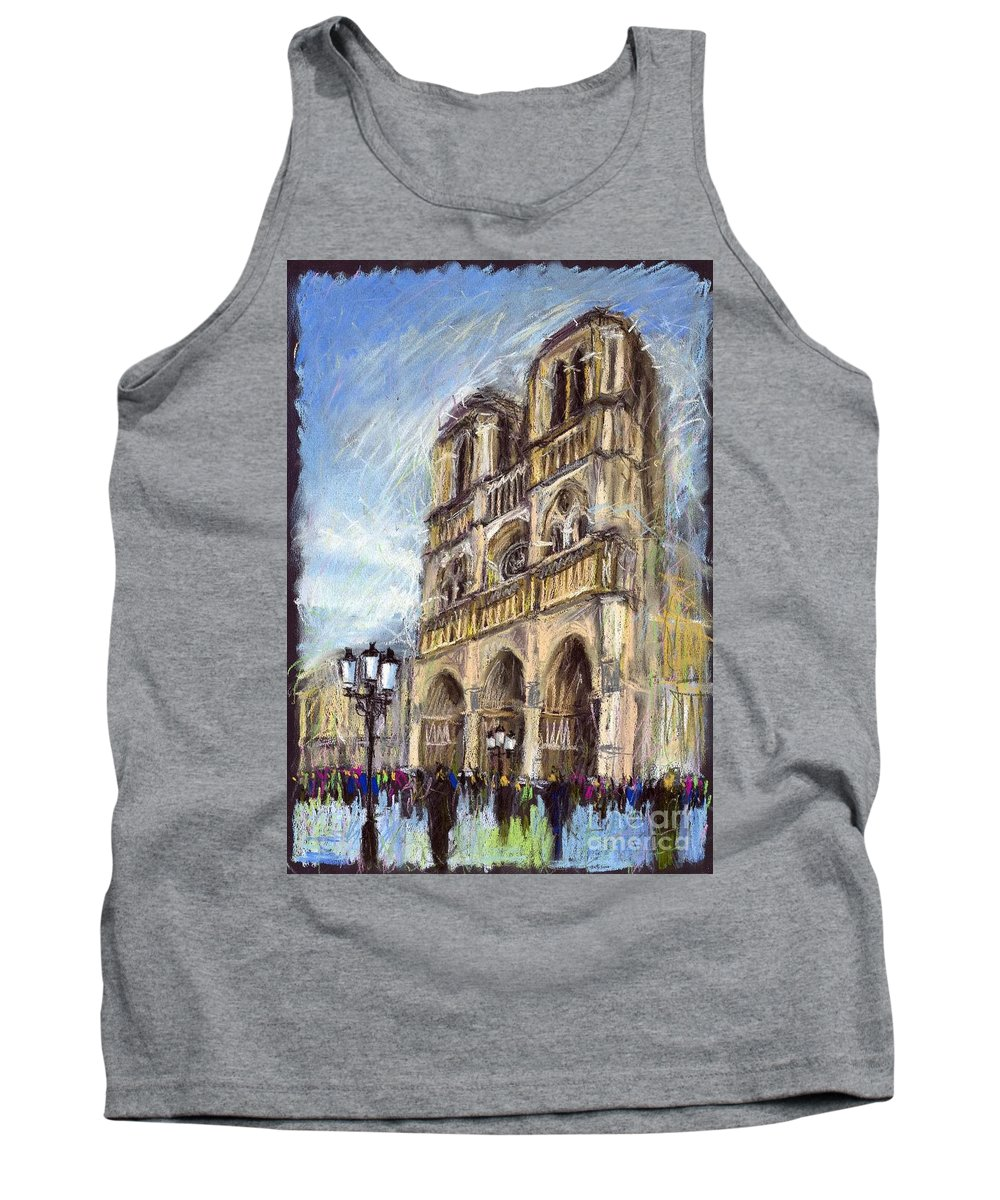 Cityscape Tank Top featuring the pastel Paris Notre-Dame de Paris by Yuriy Shevchuk