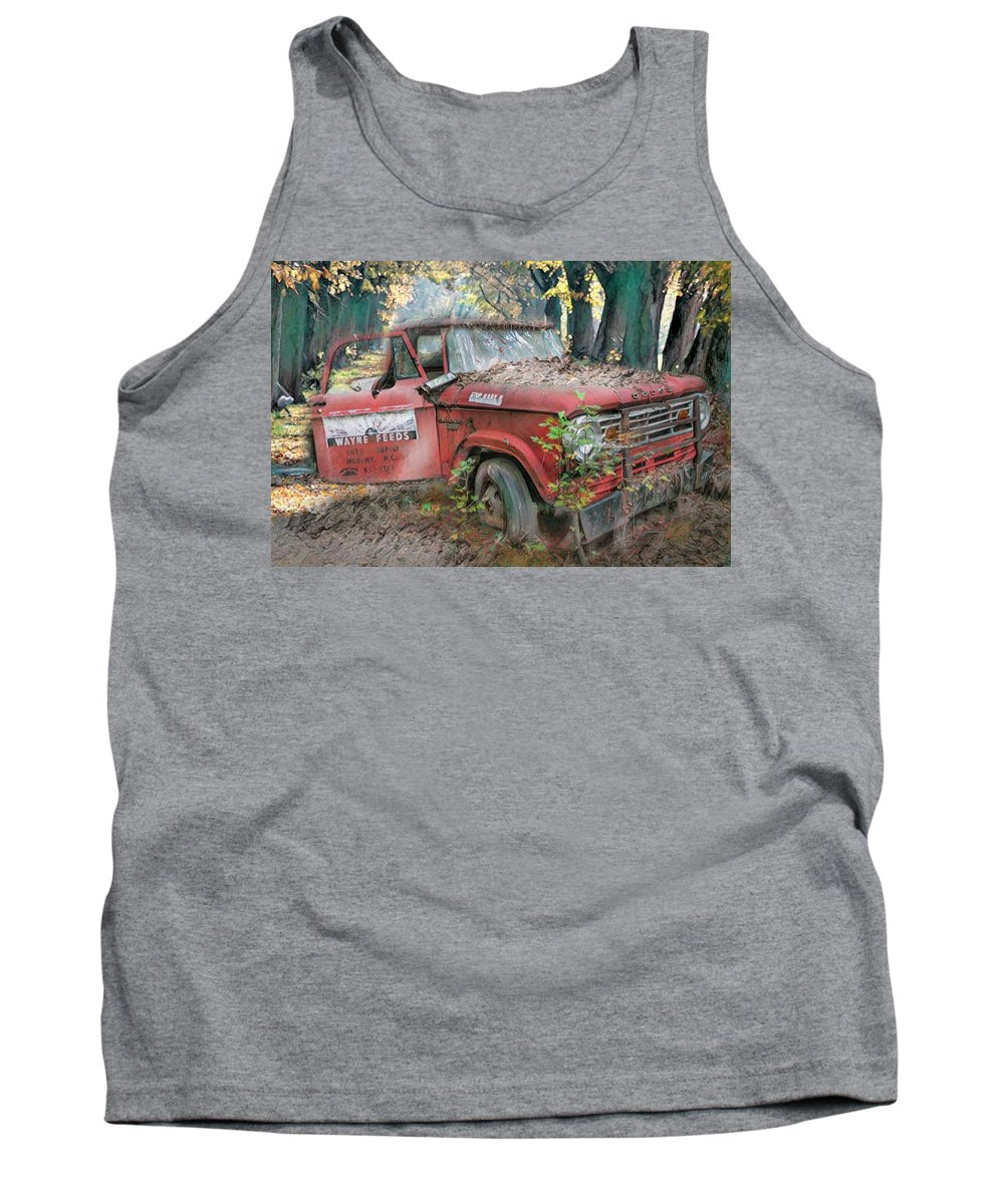 American Tank Top featuring the photograph Parked On A Country Road Watercolors Painting by Debra and Dave Vanderlaan