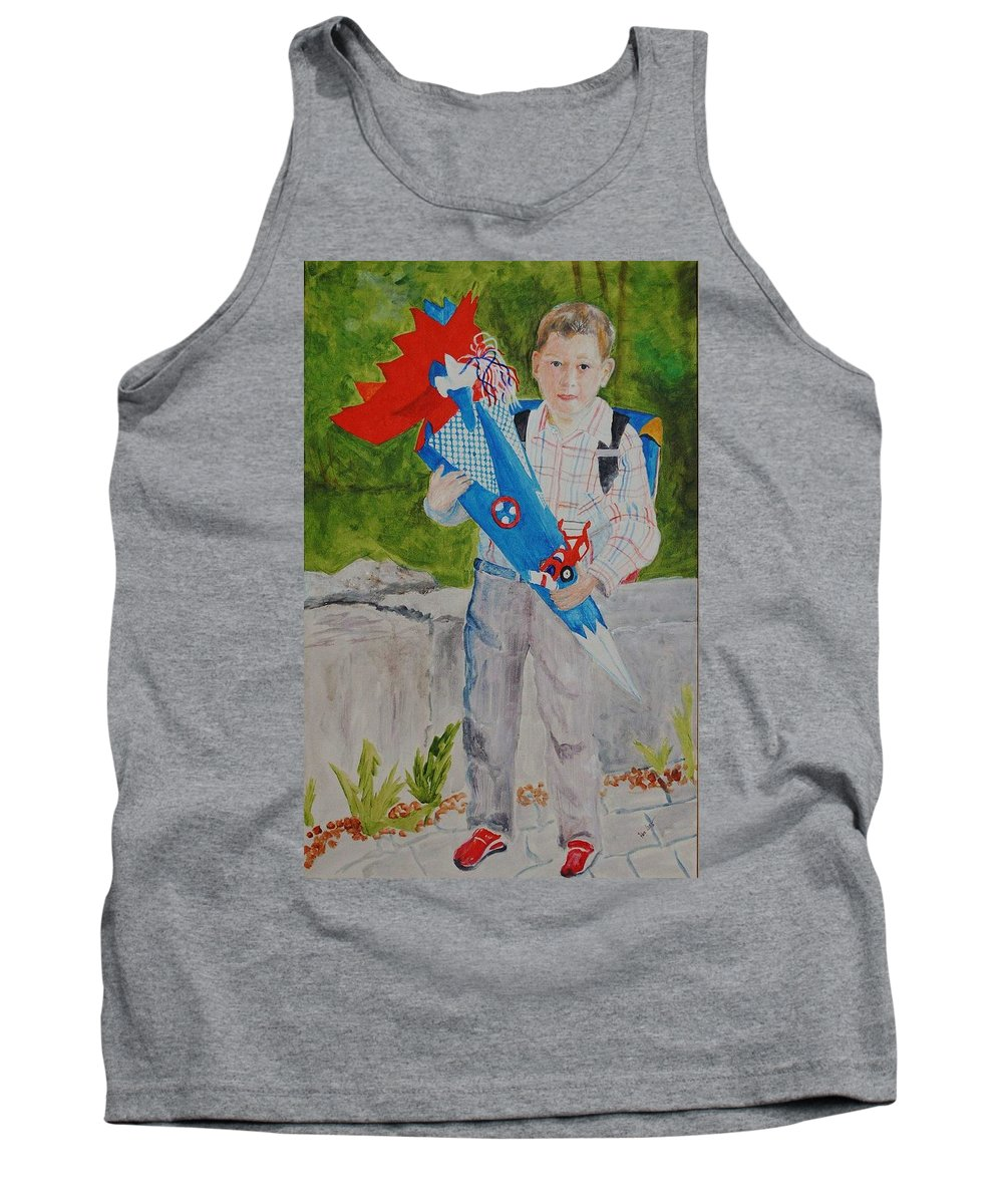 School Tank Top featuring the painting Pascals first day at school 2004 by Helmut Rottler