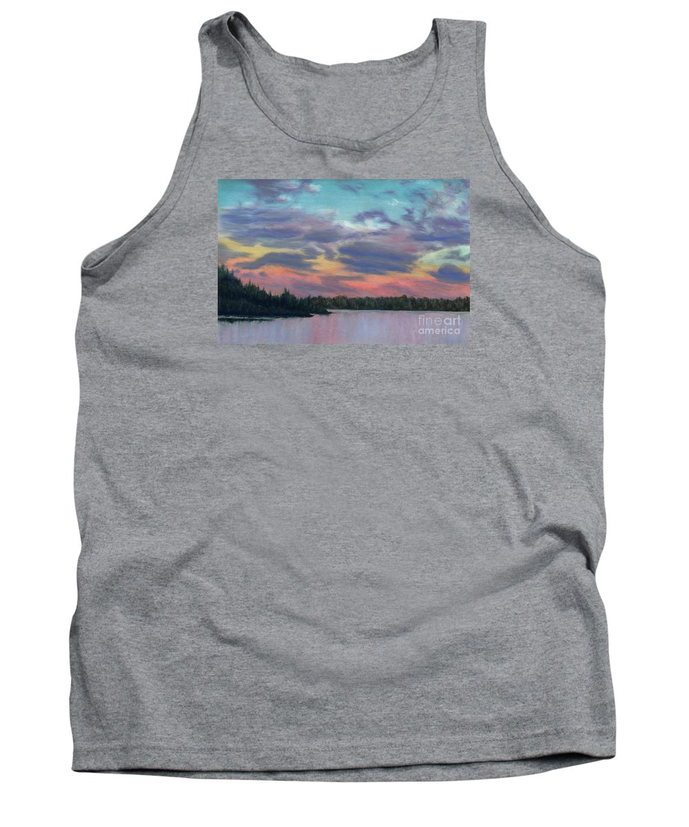 Landscape Tank Top featuring the painting Pastel Sunset by Lynn Quinn