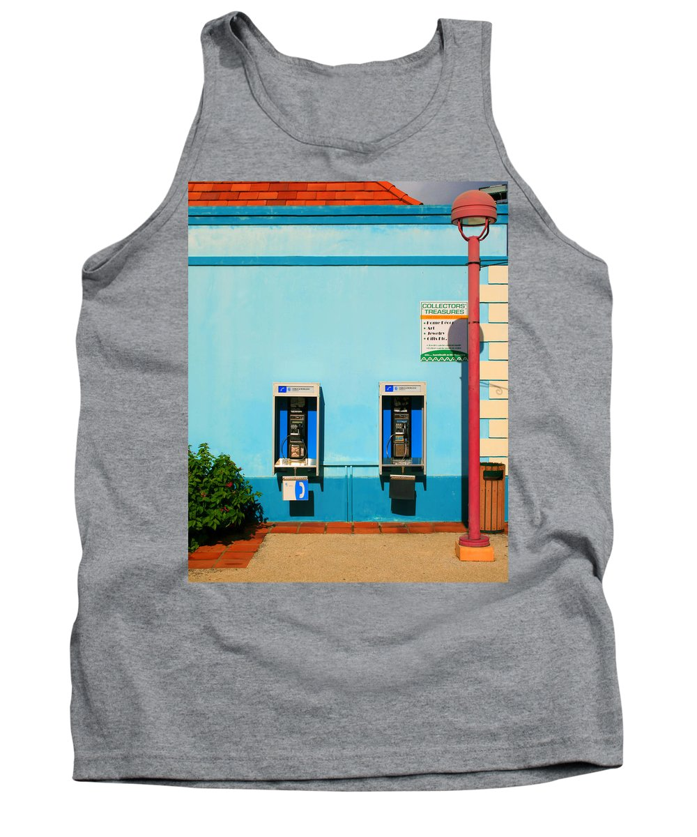 Pay Tank Top featuring the photograph Pay Phones by Perry Webster