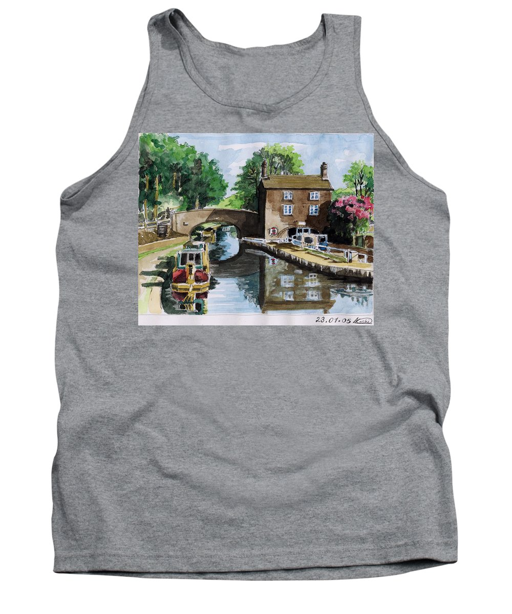 House Tank Top featuring the painting Peacfull House On The Lake by Alban Dizdari