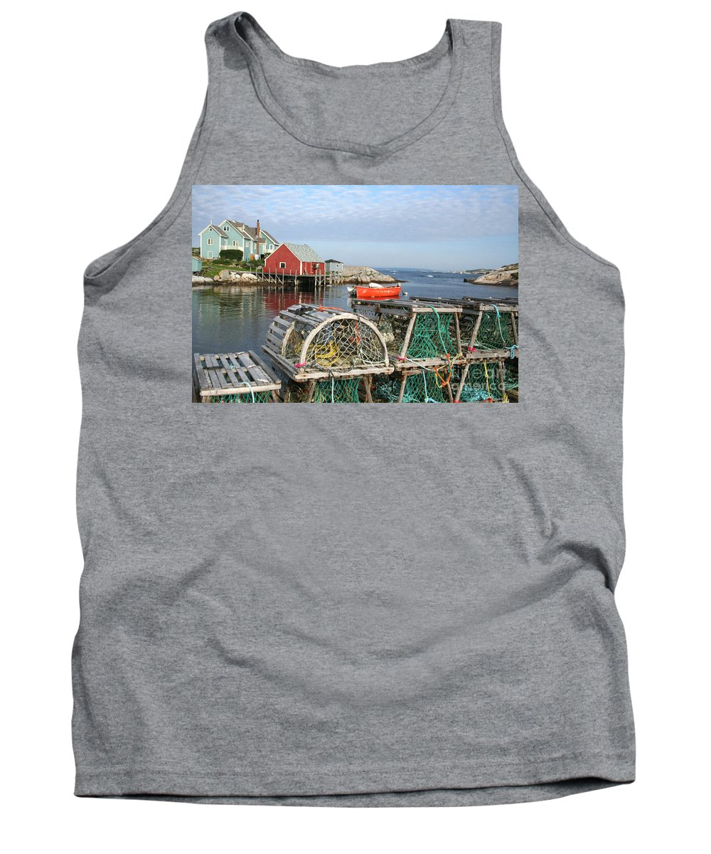 Peggy\\ Tank Top featuring the photograph Peggys Cove And Lobster Traps by Thomas Marchessault