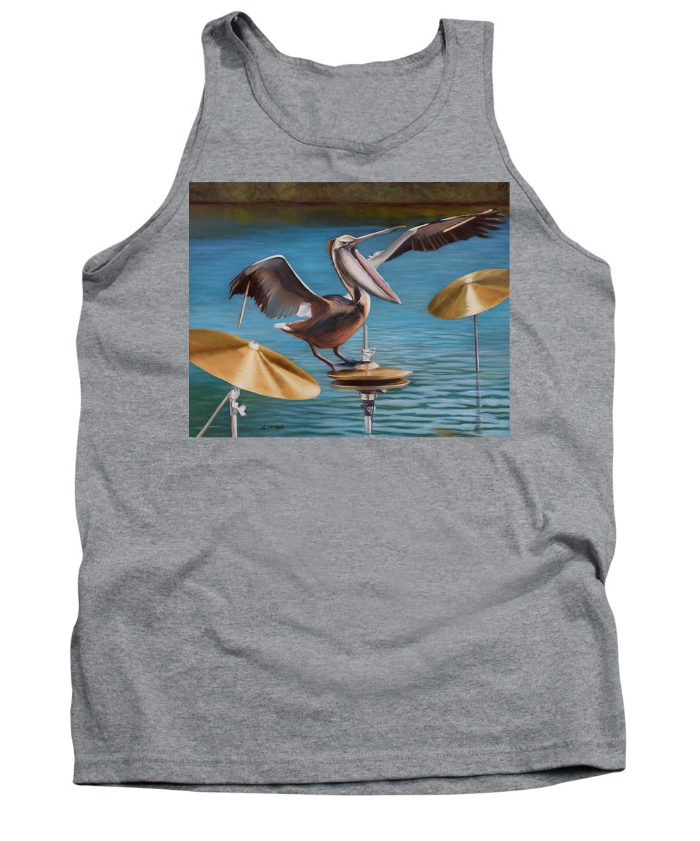 Pelican Tank Top featuring the painting Pelican Crash by Loretta McNair