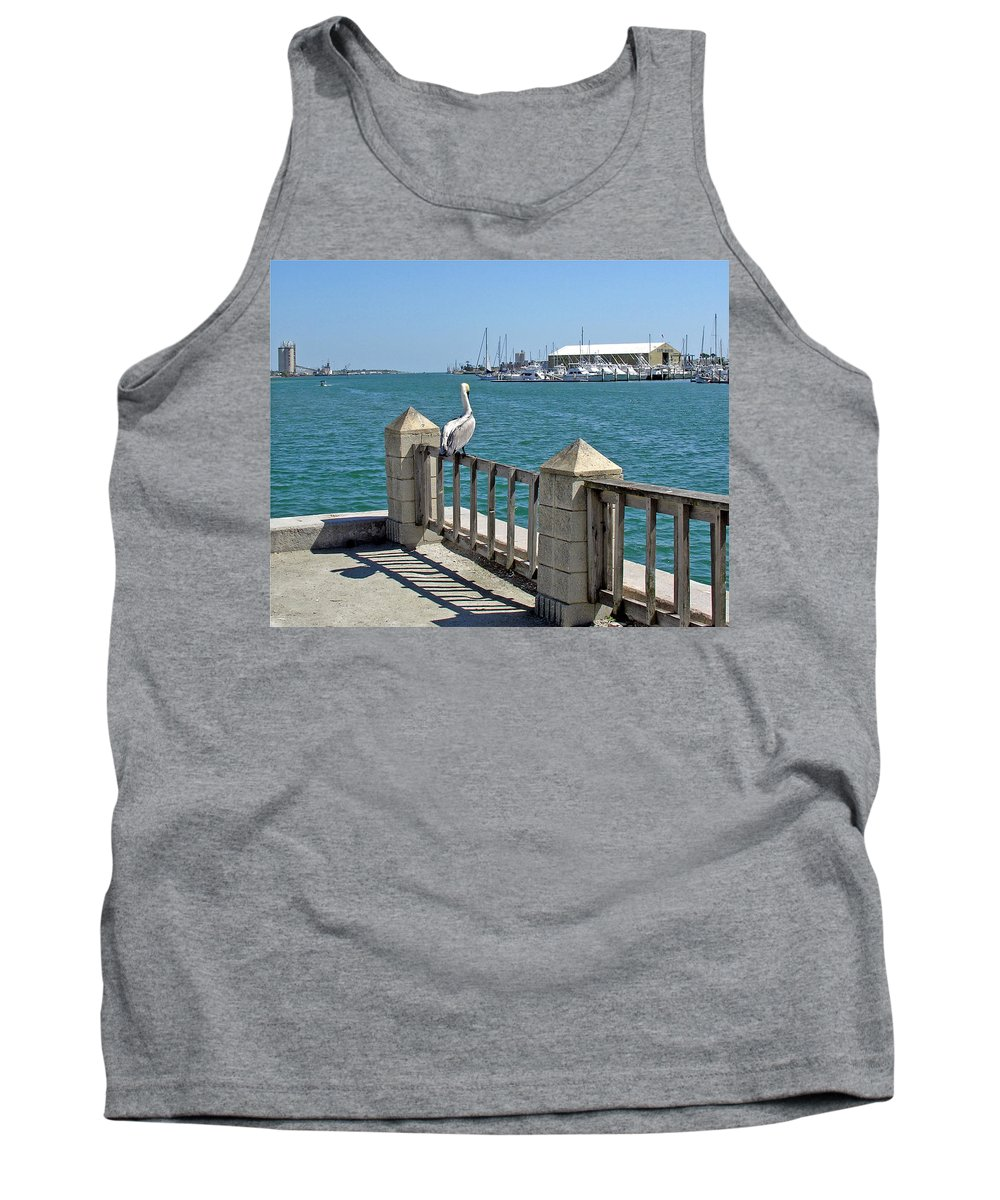 Port; Canaveral; Pelican; Gaze; Florida; Wildlife; Florida; Harbor; Atlantic; Ocean; Sea; Bird; Wate Tank Top featuring the photograph Pelican Gazing At Port Canaveral In Florida by Allan Hughes