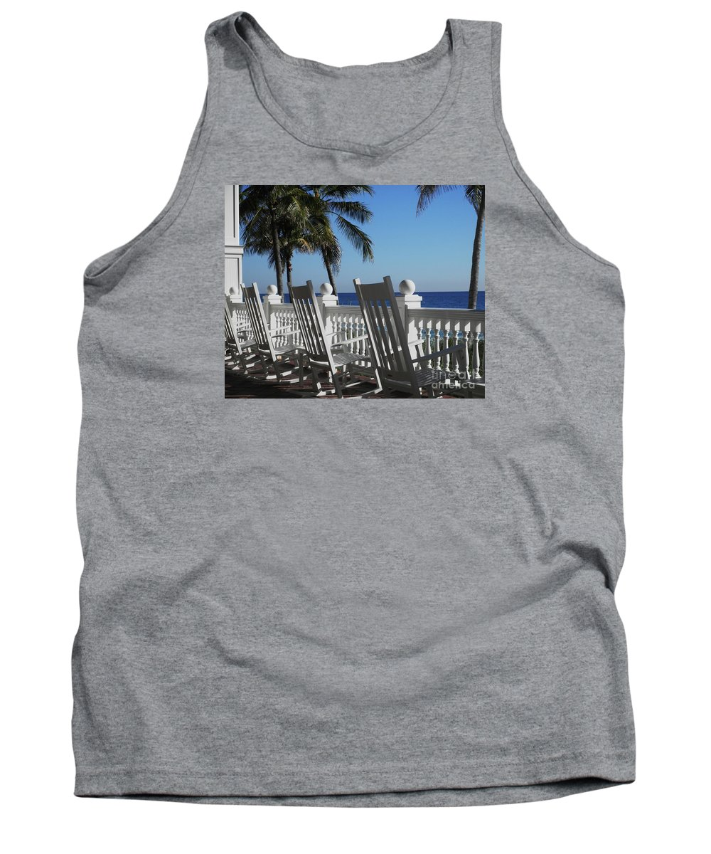Rocking Chairs Tank Top featuring the photograph Pelican Grand by Neil Zimmerman