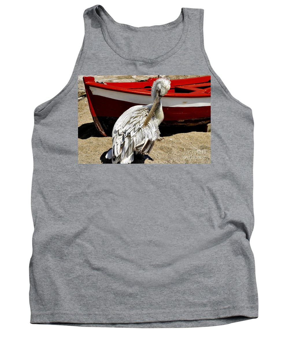 Pelican Tank Top featuring the photograph Pelican In Mykonos II by Madeline Ellis