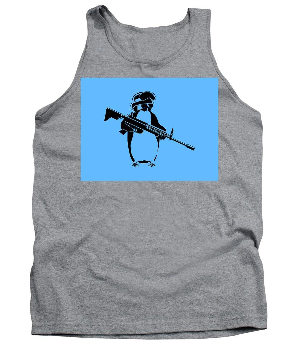 Penguin Tank Top featuring the digital art Penguin Soldier by Pixel Chimp
