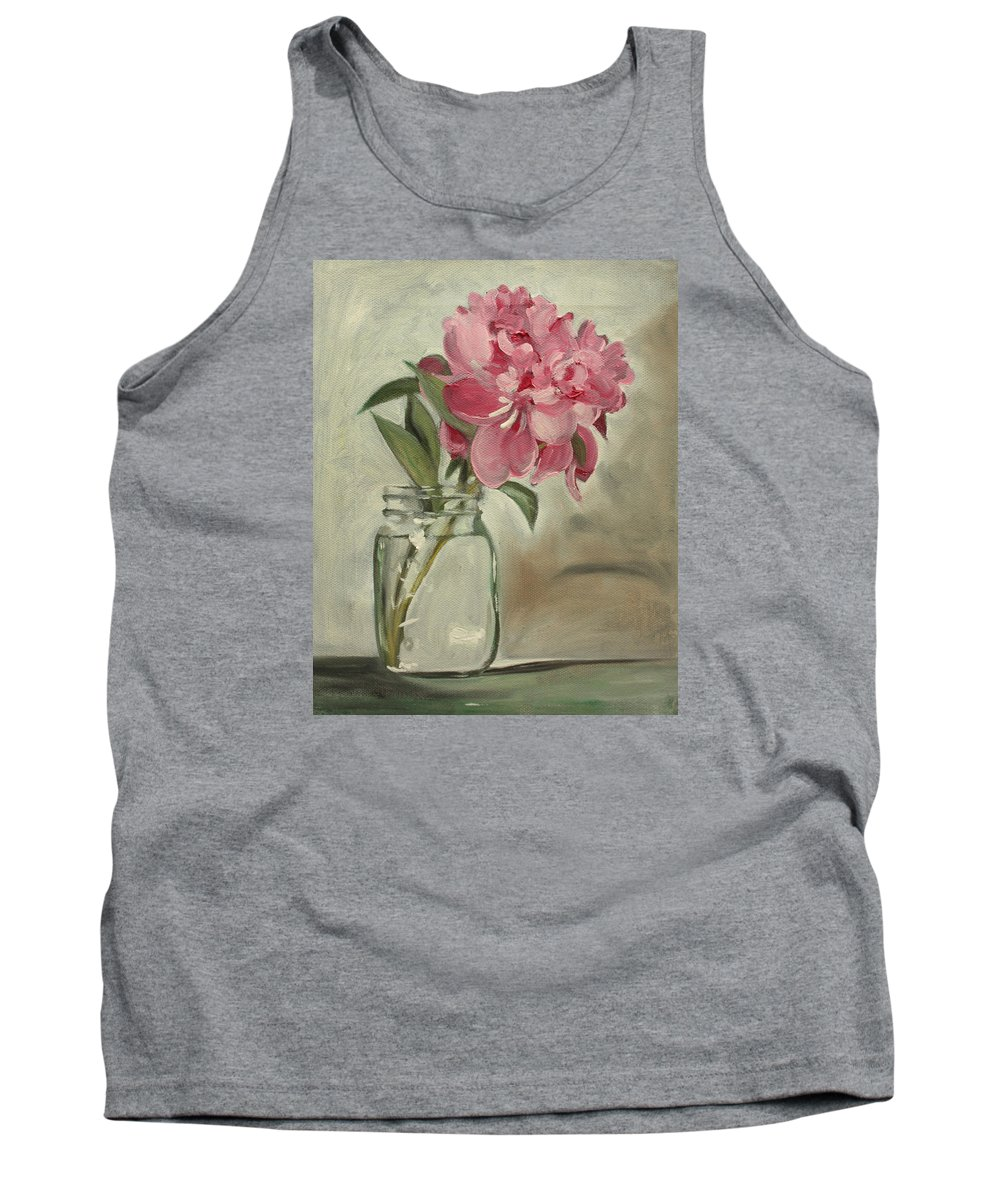 Still-life Tank Top featuring the painting Peony by Sarah Lynch