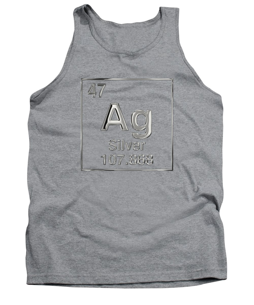 'the Elements' Collection By Serge Averbukh Tank Top featuring the digital art Periodic Table Of Elements - Silver - Ag by Serge Averbukh
