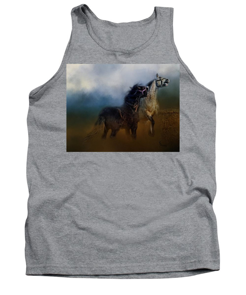 Gypsy Horses Playing Tank Top featuring the digital art Petulance Rising by Kimberly Stevens