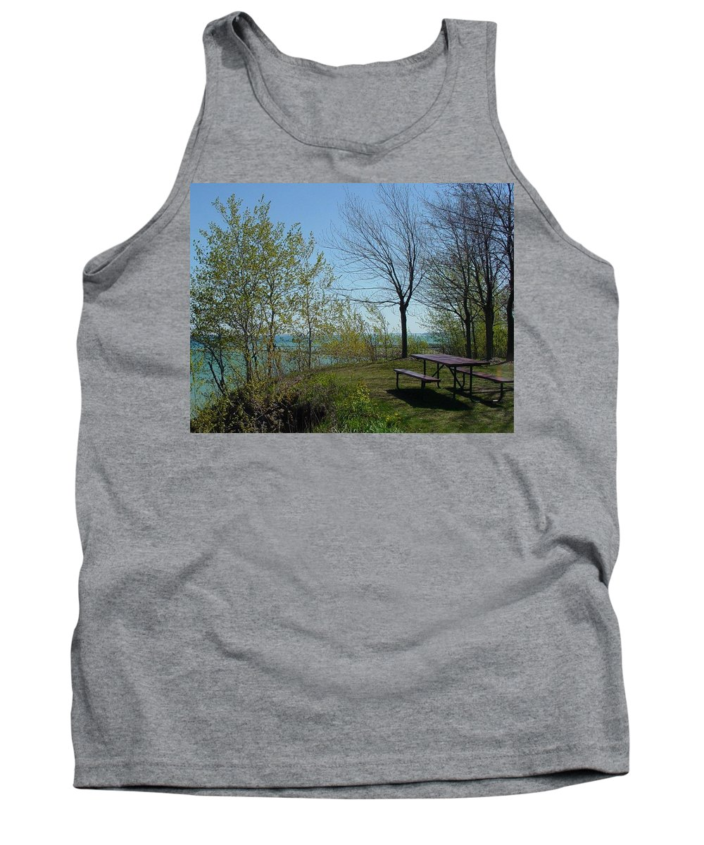 Lake View Tank Top featuring the photograph Picnic Table By The Lake Photo by Anita Burgermeister