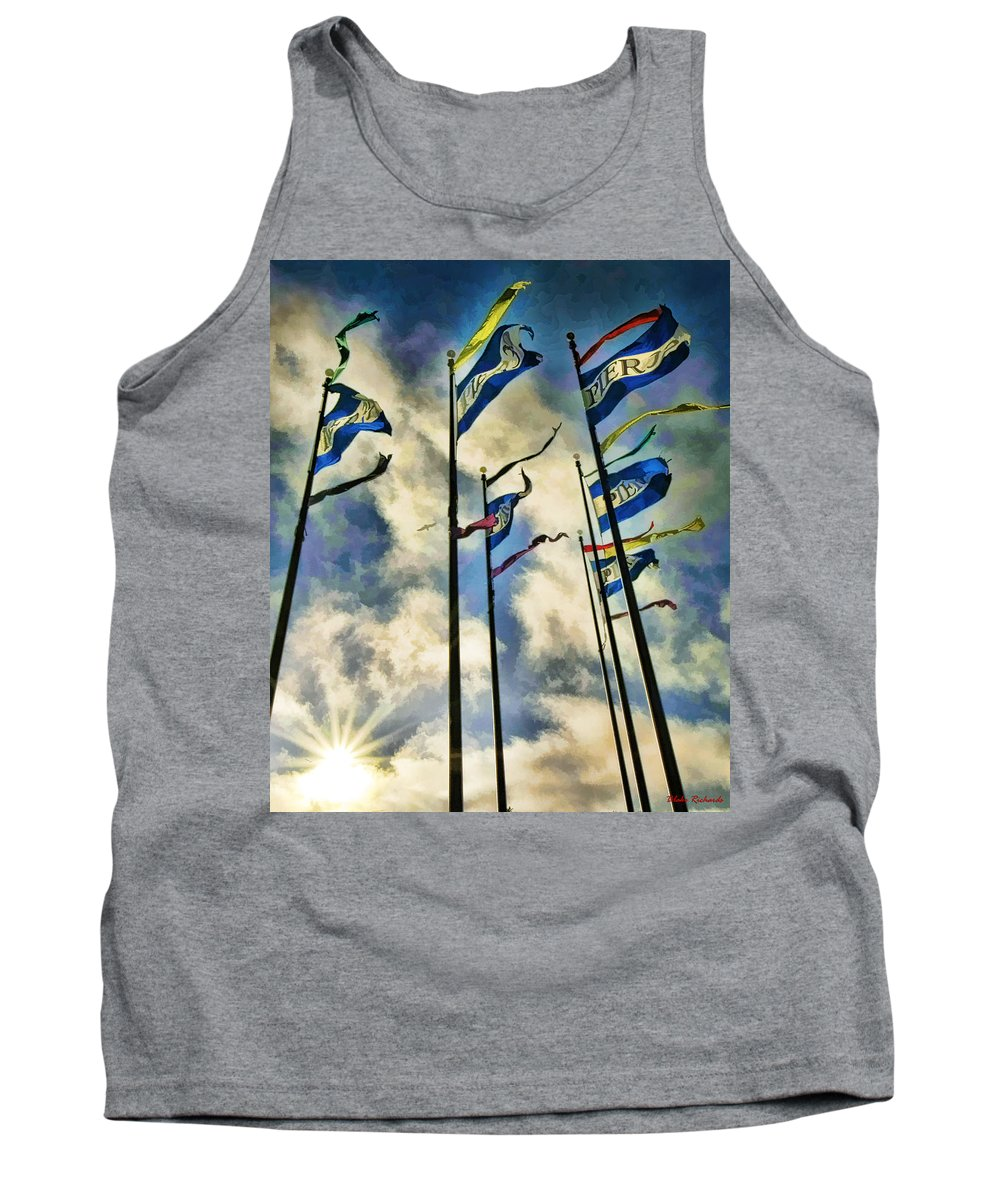 Art Photography Tank Top featuring the photograph Pier Flags by Blake Richards